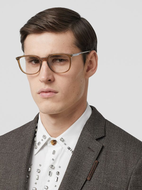 Square Optical Frames in Olive Green | Burberry Canada - cell image 2