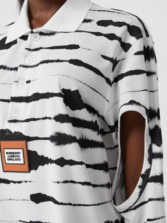 Cut-out Sleeve Watercolour Print Cotton Polo Shirt in Monochrome - Women | Burberry United Kingdom - cell image 1