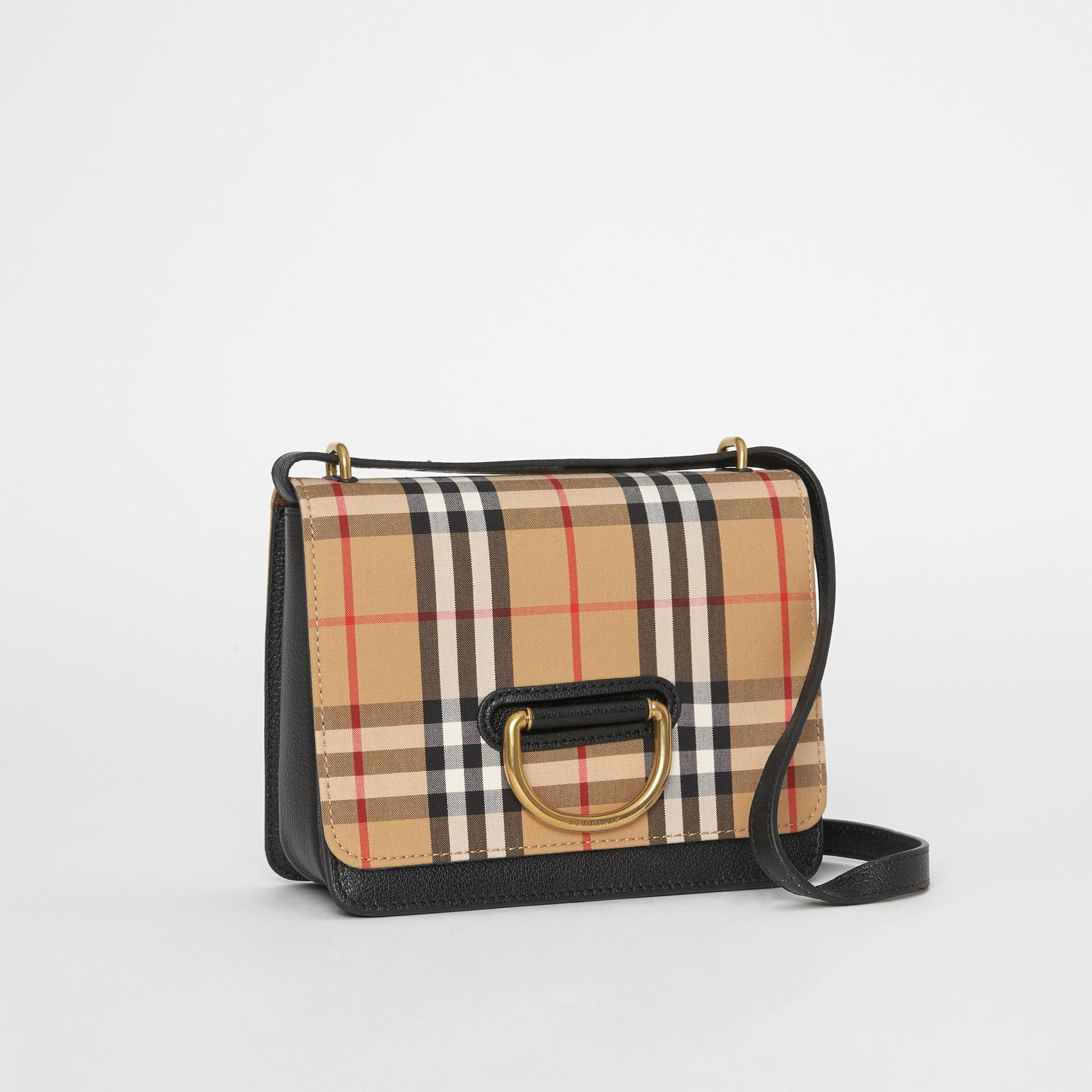 The Small Vintage Check and Leather D-ring Bag in Black/antique Yellow - Women | Burberry Canada - gallery image 6