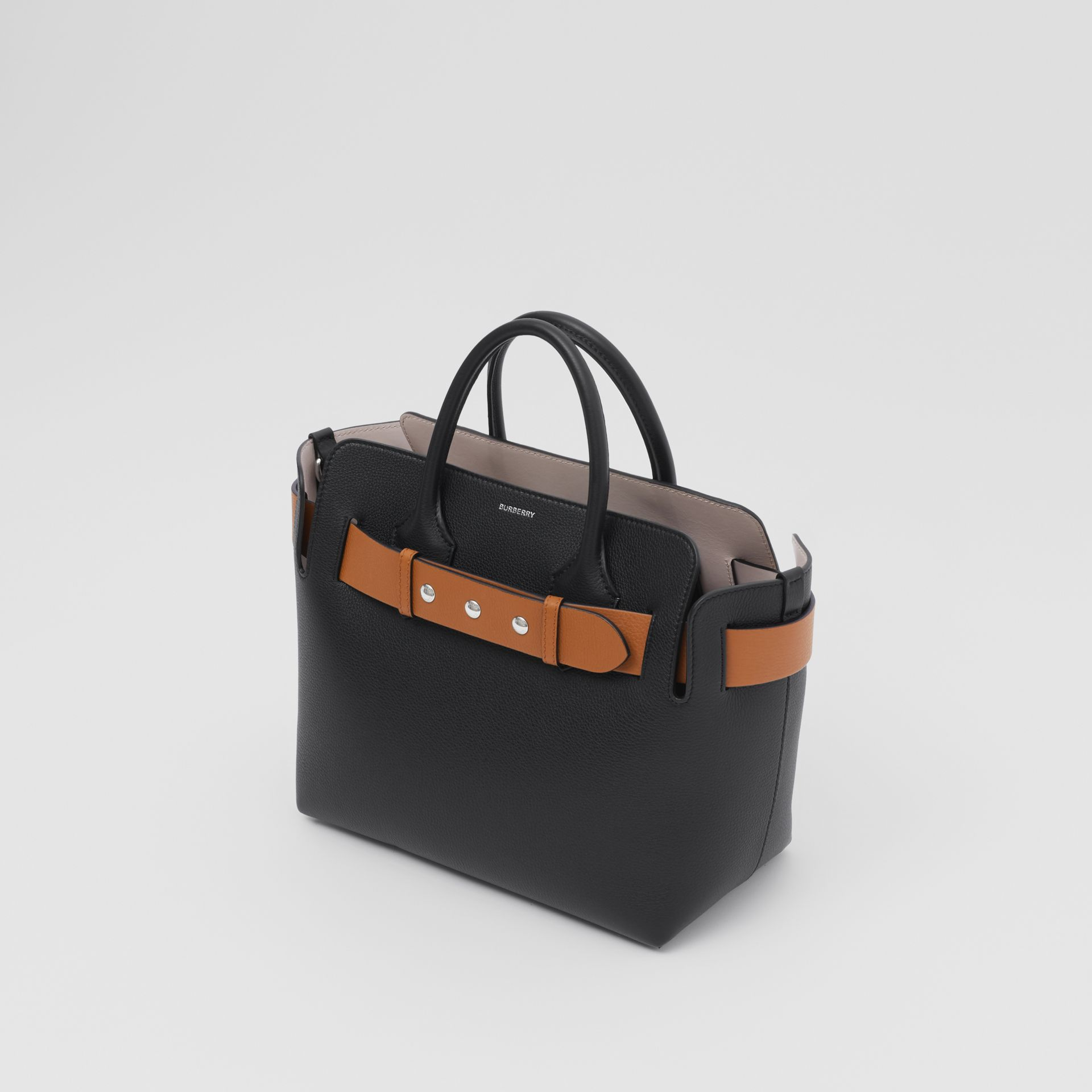 The Small Leather Triple Stud Belt Bag in Black/cognac/chalk Pink - Women | Burberry United Kingdom - gallery image 3