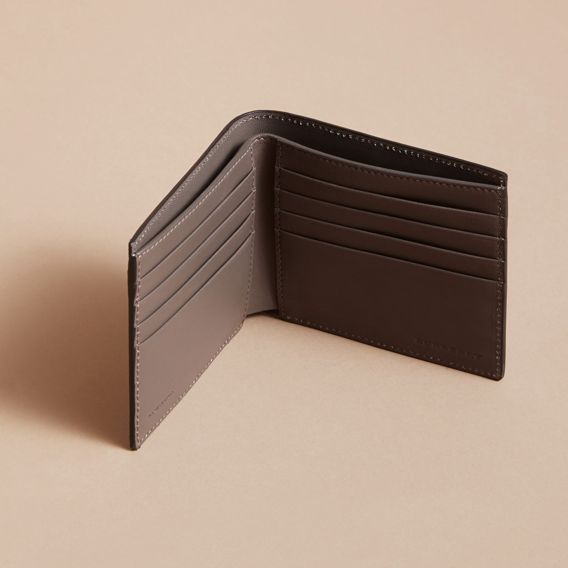 Beasts Print Leather Folding Wallet in Navy Grey - Men | Burberry - gallery image 5