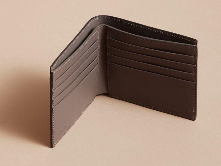 Beasts Print Leather Folding Wallet in Navy Grey - Men | Burberry - cell image 4