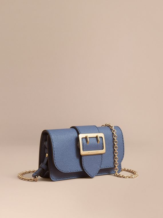 Borsa The Buckle mini in pelle a grana Blu Acciaio