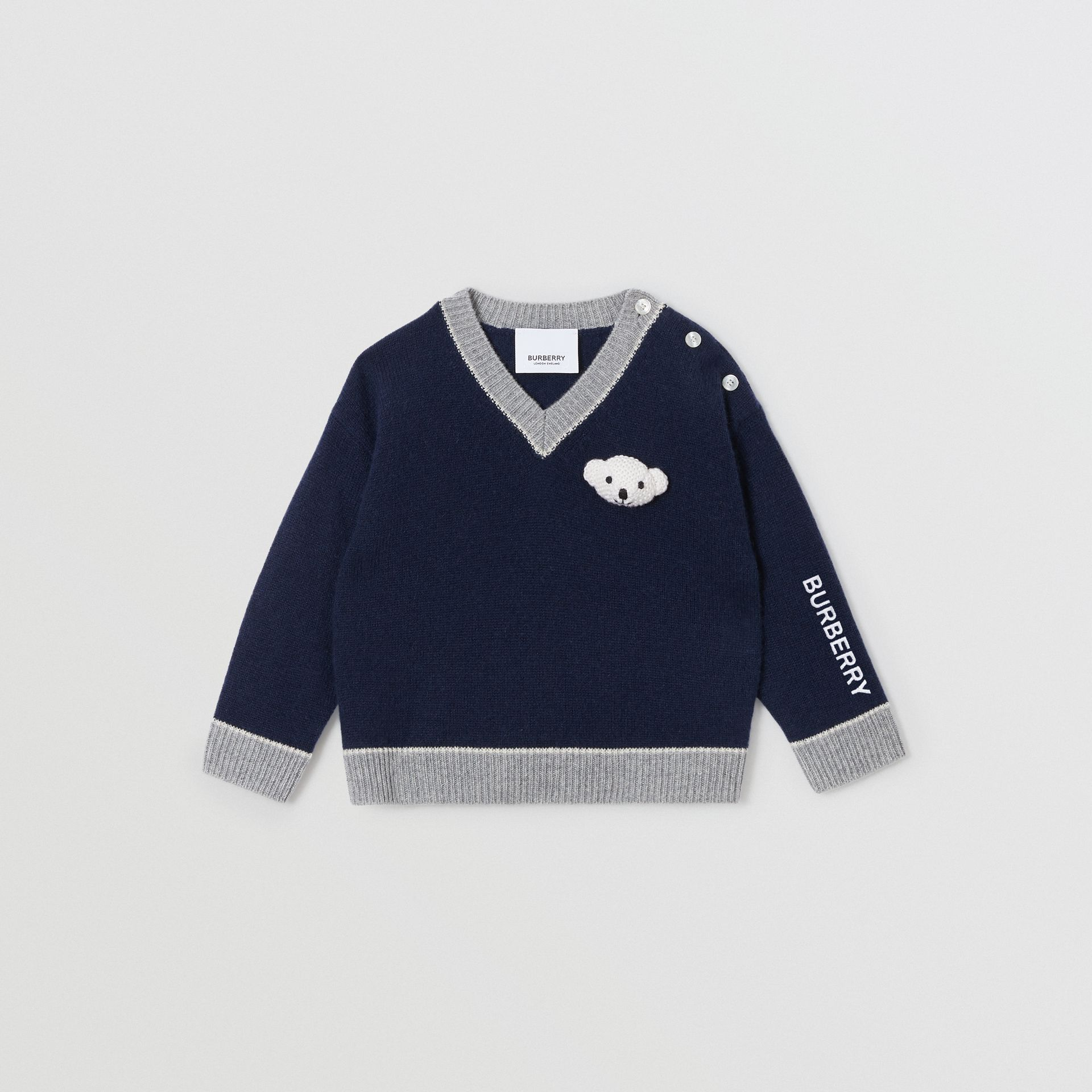Thomas Bear Detail Wool Cashmere Sweater in Navy - Children | Burberry - gallery image 0