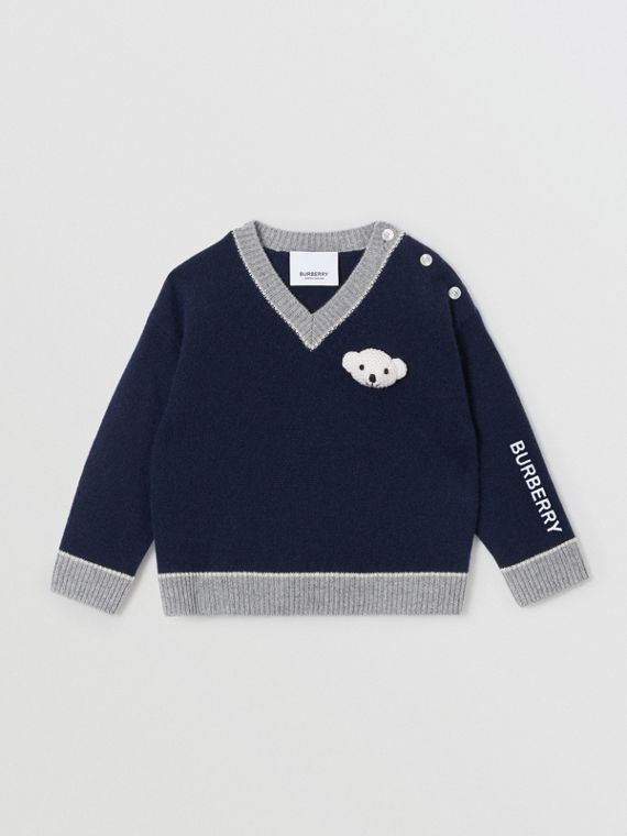Thomas Bear Detail Wool Cashmere Sweater in Navy