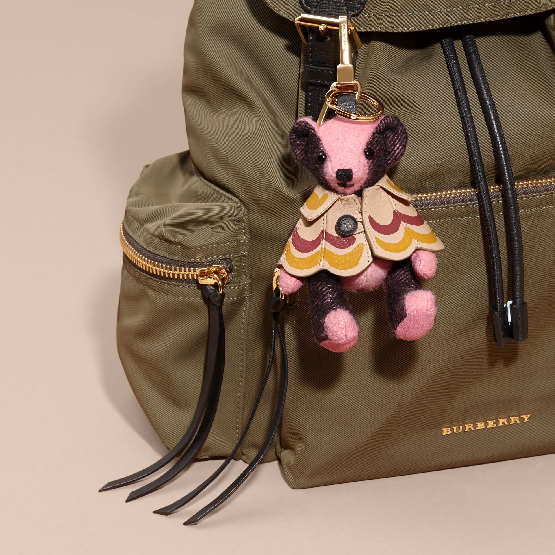 Thomas Bear Charm in Trompe L'oeil Print Cape in Rose Pink - Women | Burberry Australia - gallery image 3