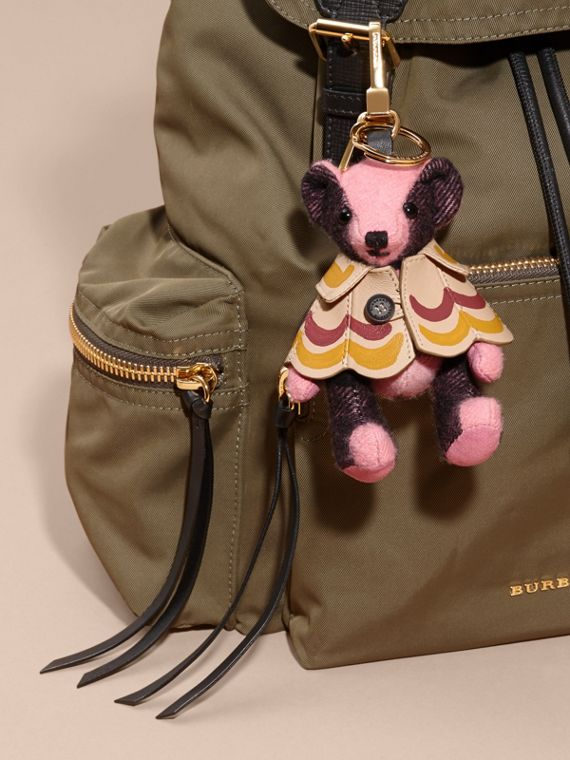 Thomas Bear Charm in Trompe L'oeil Print Cape in Rose Pink - Women | Burberry - cell image 2