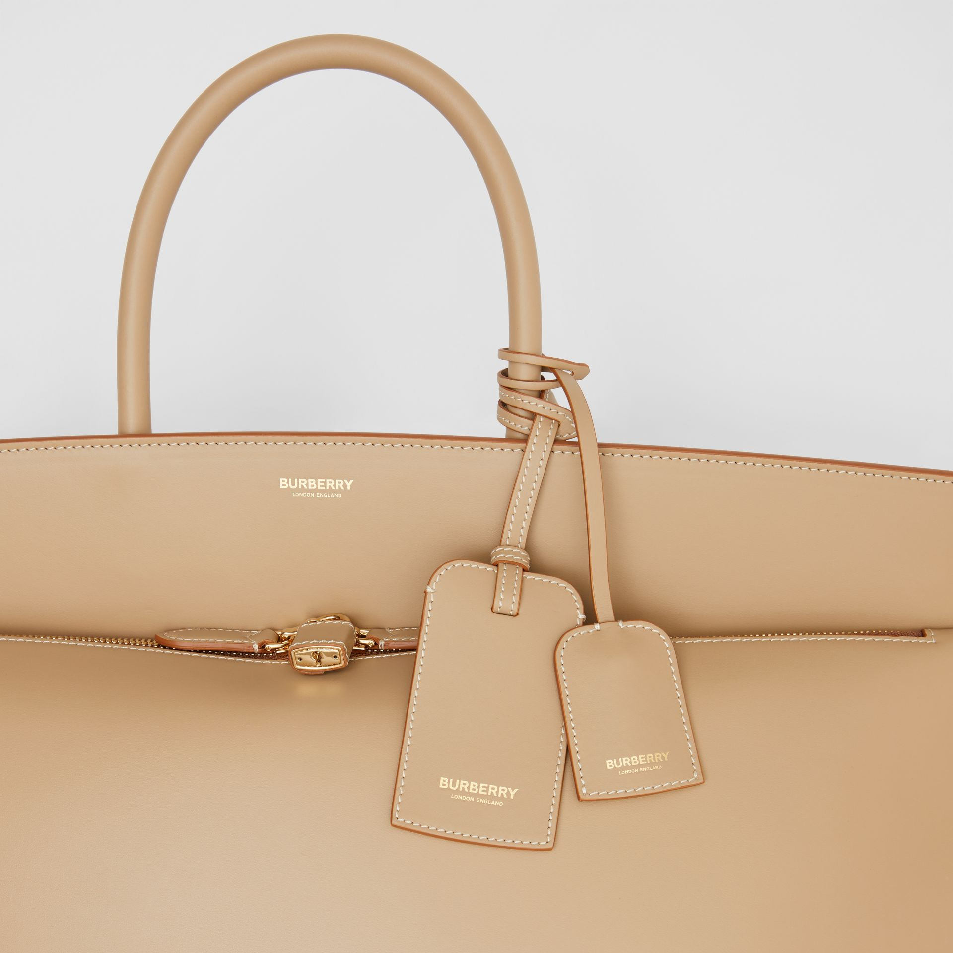 Extra Large Leather Society Top Handle Bag in Honey - Men | Burberry - gallery image 1