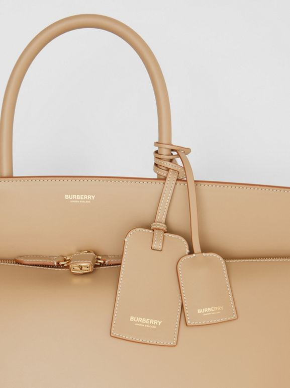 Extra Large Leather Society Top Handle Bag in Honey - Men | Burberry United Kingdom - cell image 1