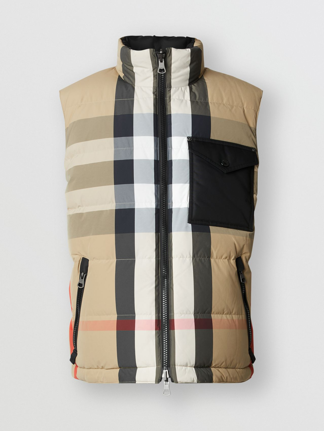 Reversible Recycled Nylon Re:Down® Puffer Gilet in Archive Beige/black