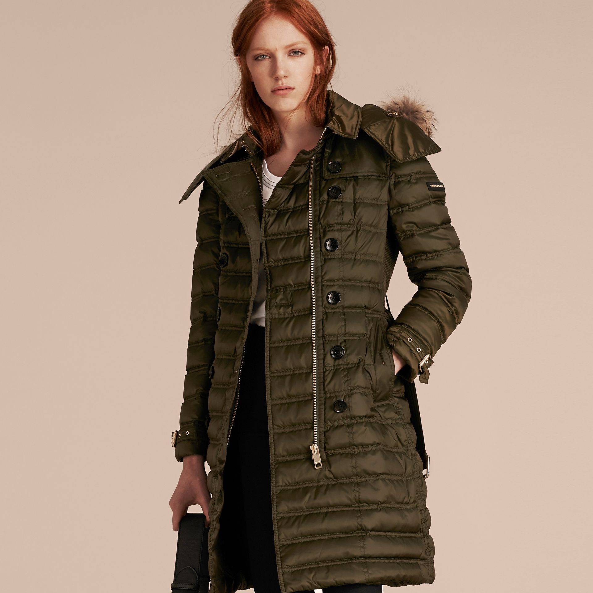 Dark olive Down-Filled Puffer Coat with Fur Trim Dark Olive - gallery image 7