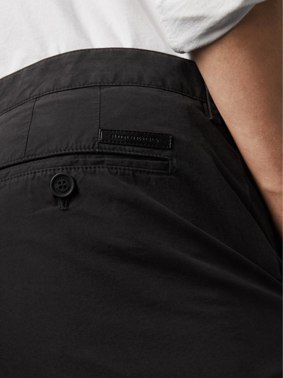 Cotton Poplin Chino Shorts in Black - Men | Burberry United States - cell image 1