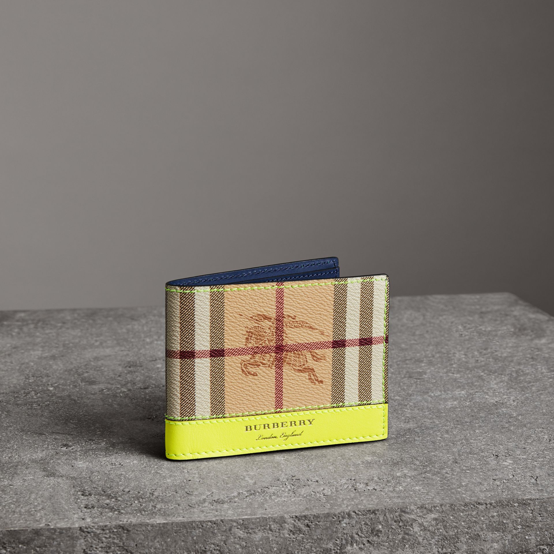 Haymarket Check and Leather Bifold Wallet in Bright Yellow | Burberry United States - gallery image 0