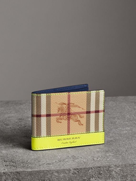 Haymarket Check and Leather Bifold Wallet in Bright Yellow