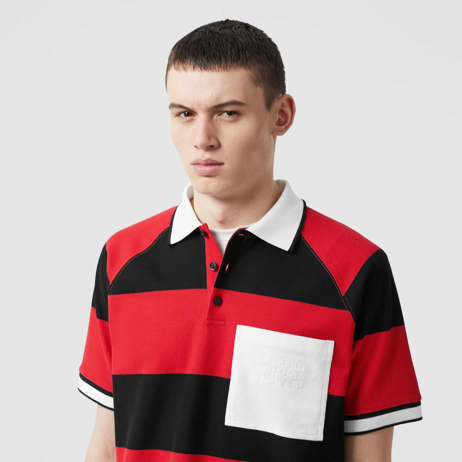 Striped Cotton Piqué Oversized Polo Shirt in Black/bright Red - Men | Burberry Hong Kong S.A.R - gallery image 5