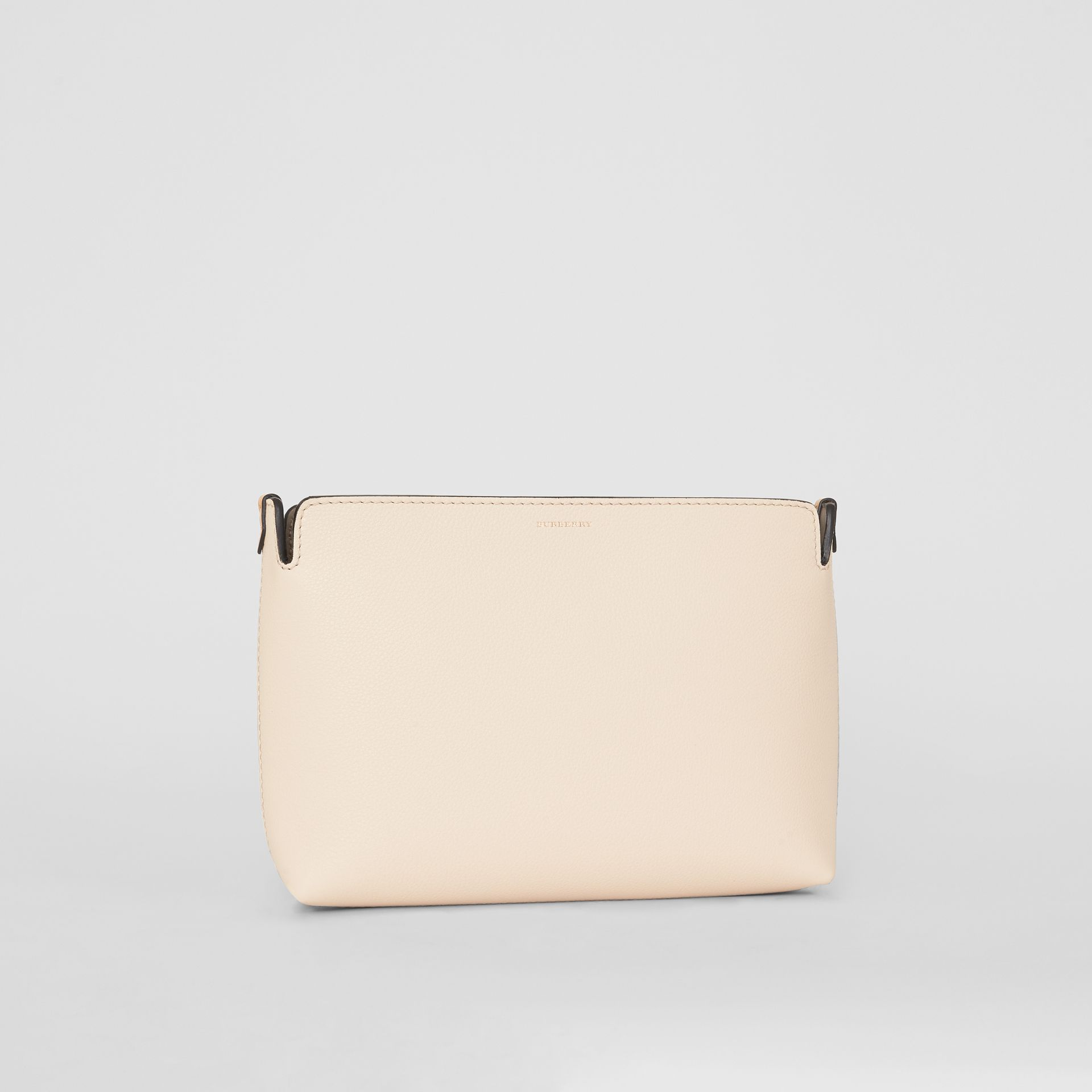Medium Tri-tone Leather Clutch in Limestone/cornflower Yellow | Burberry - gallery image 4