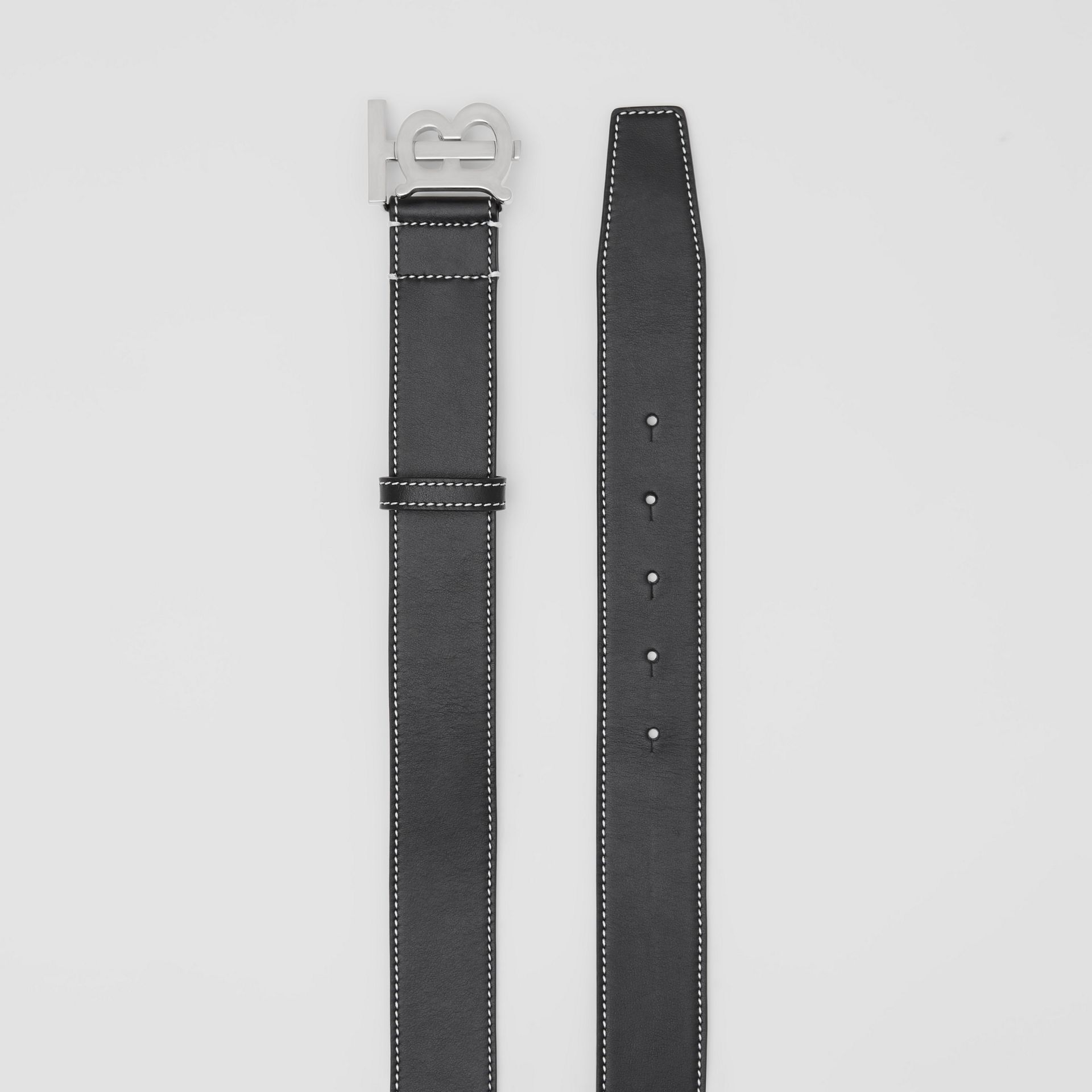 Monogram Motif Topstitched Leather Belt in Black - Men | Burberry - gallery image 5