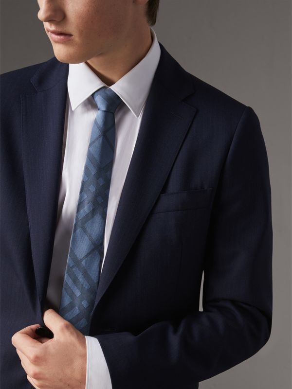 Slim Cut Check Silk Tie in Light Blue - Men | Burberry - cell image 2