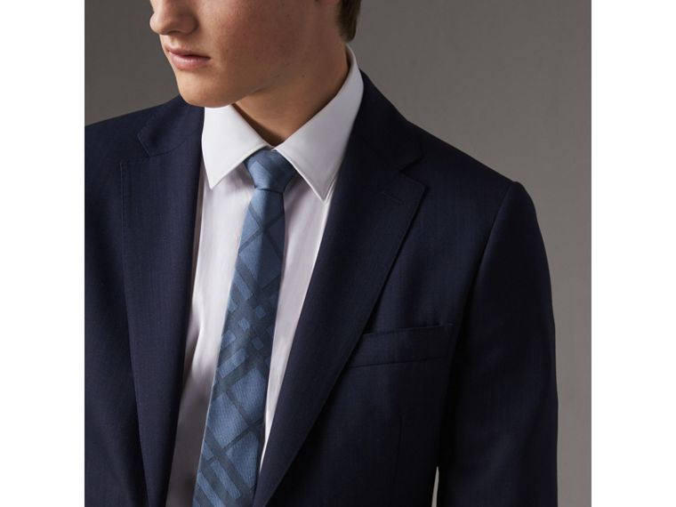 Slim Cut Check Silk Tie in Light Blue - Men | Burberry Singapore - cell image 2