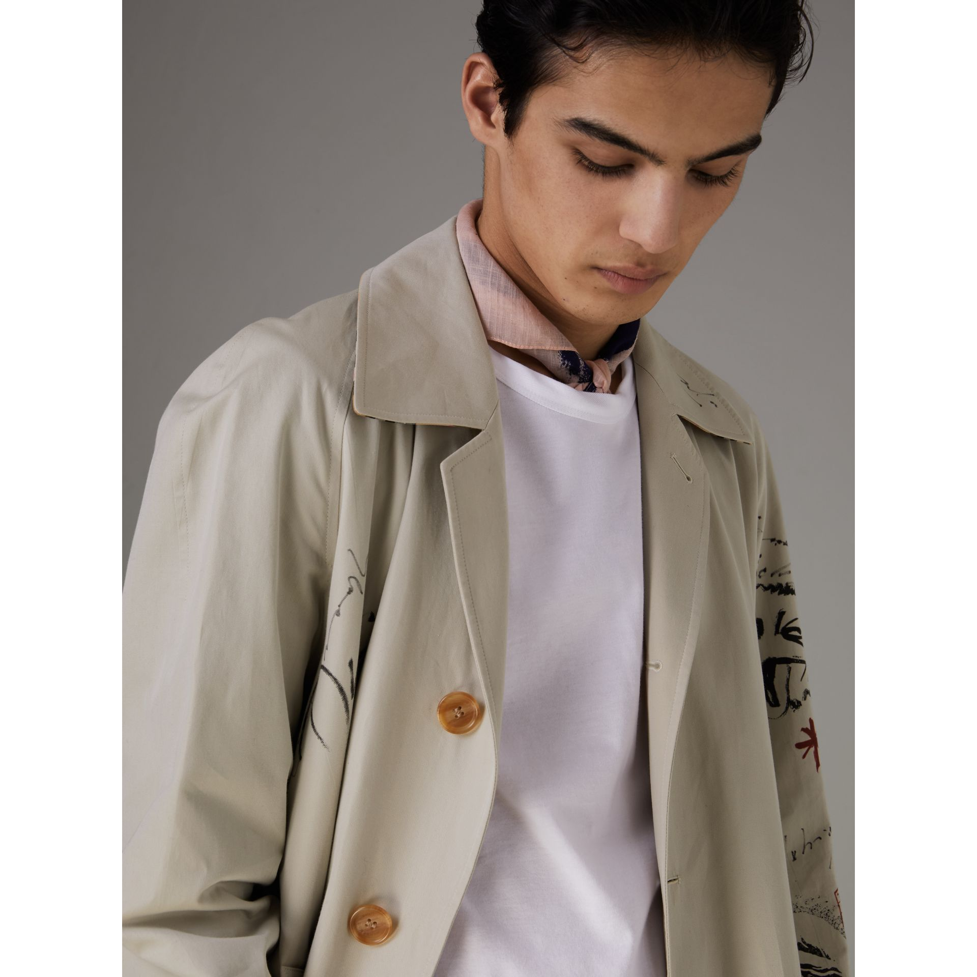 Sketch Print Car Coat in Stone - Men | Burberry Singapore - gallery image 1