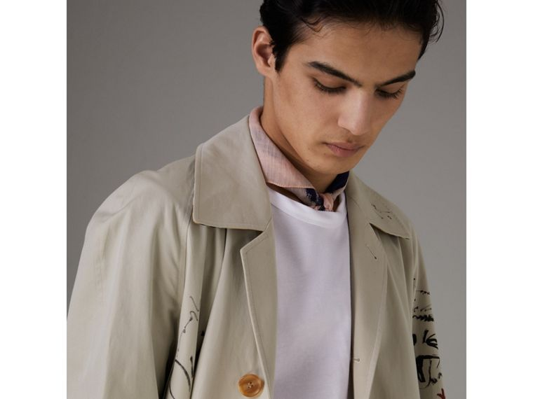 Sketch Print Car Coat in Stone - Men | Burberry - cell image 1
