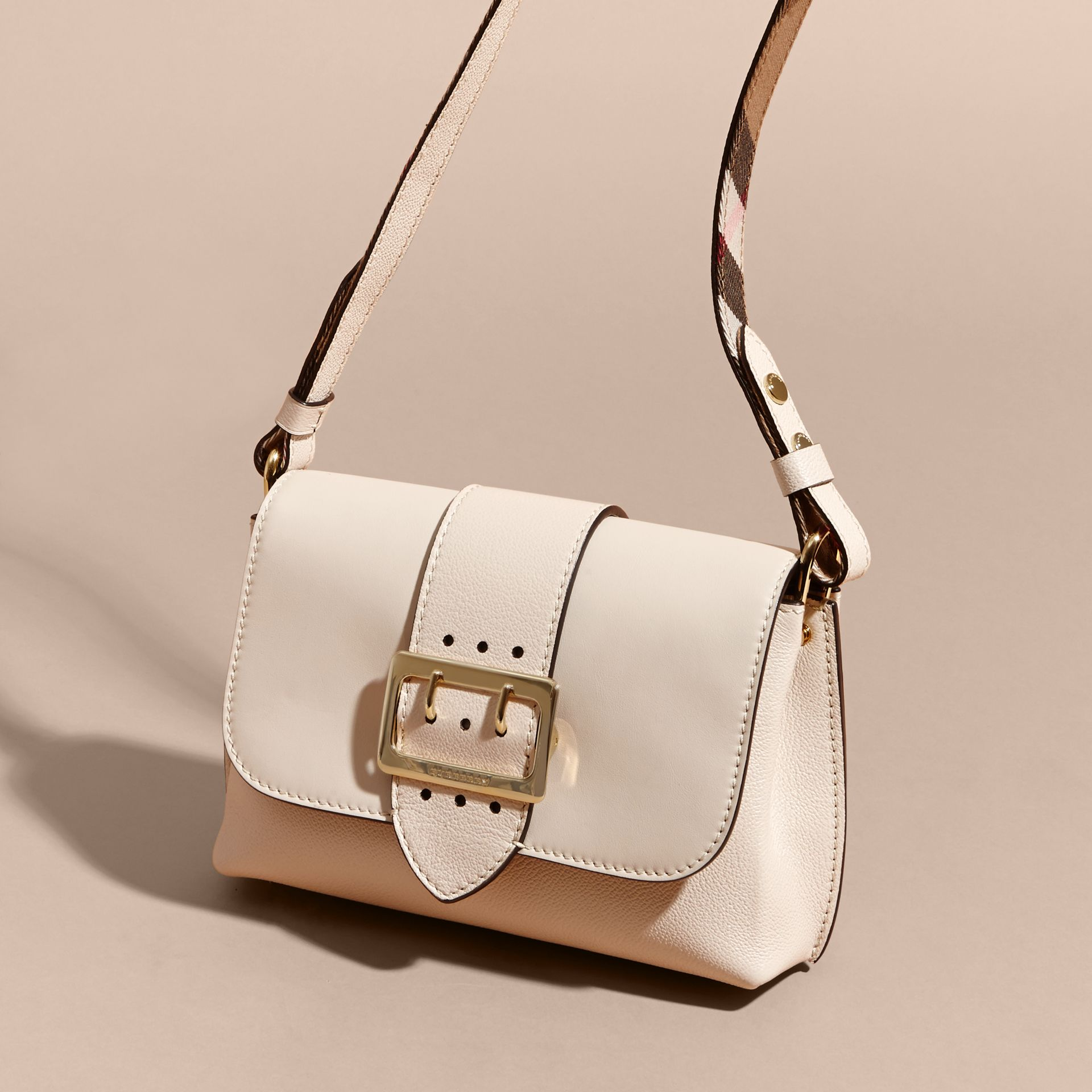 The Buckle Crossbody Bag in Leather in Limestone - gallery image 8