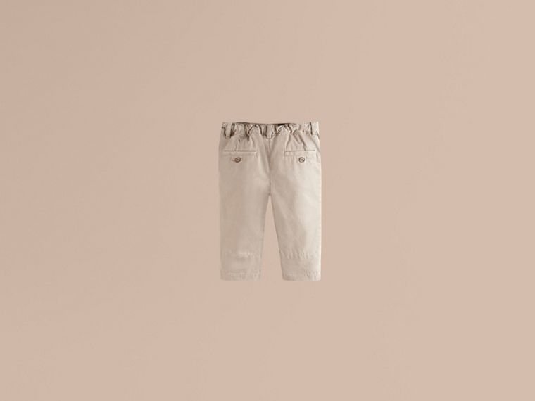 Check Cuff Chinos in Taupe - Boy | Burberry - cell image 1