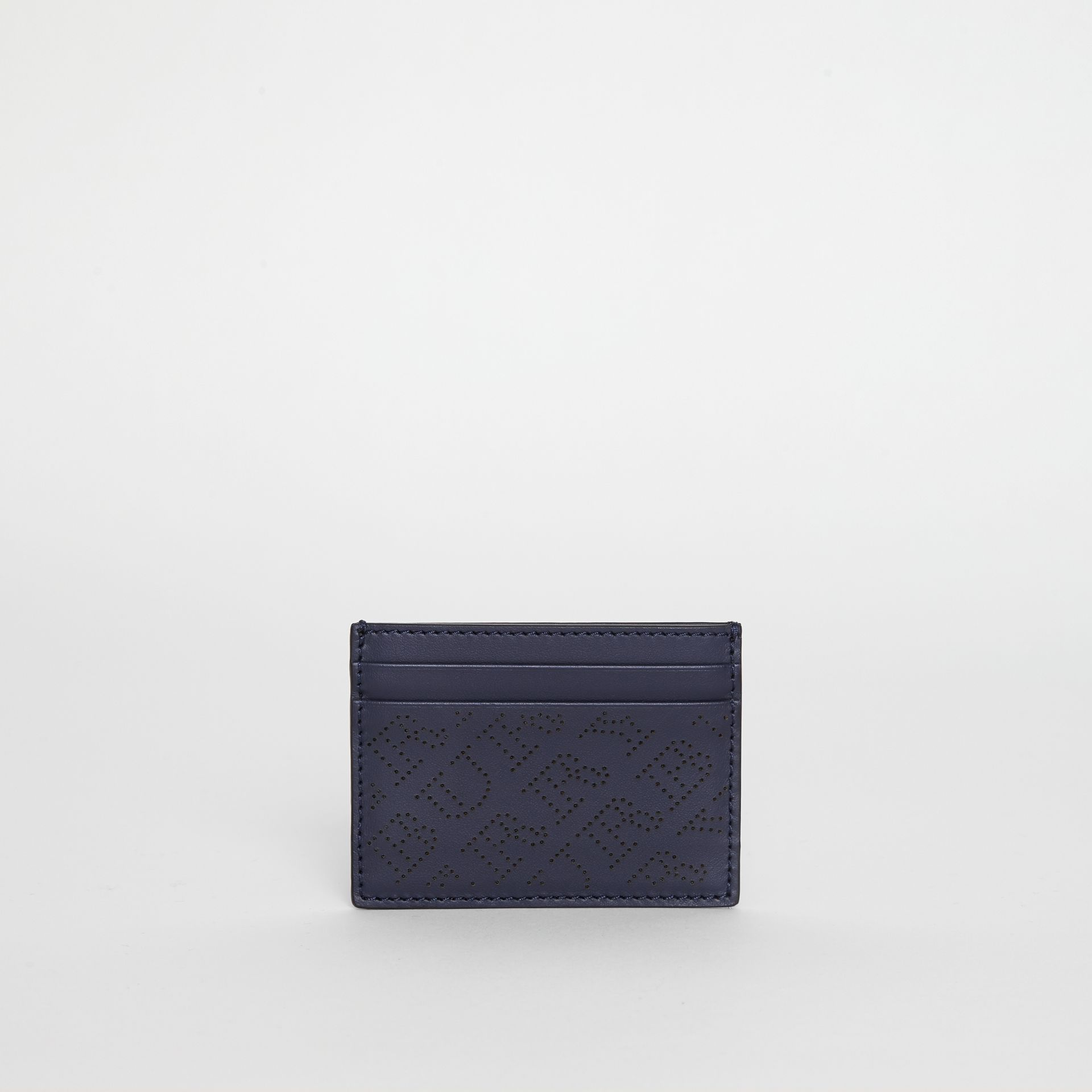 Perforated Logo Leather Card Case in Navy - Women | Burberry - gallery image 2