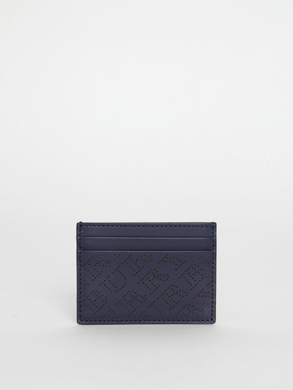 Perforated Logo Leather Card Case in Navy - Women | Burberry Australia - cell image 2