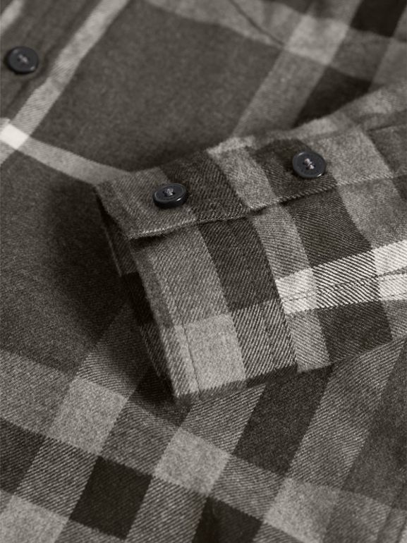 Check Cotton Flannel Button-Down Shirt in Dark Grey Melange - Boy | Burberry United States - cell image 1