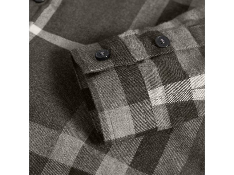 Check Cotton Flannel Button-Down Shirt in Dark Grey Melange - Boy | Burberry - cell image 1