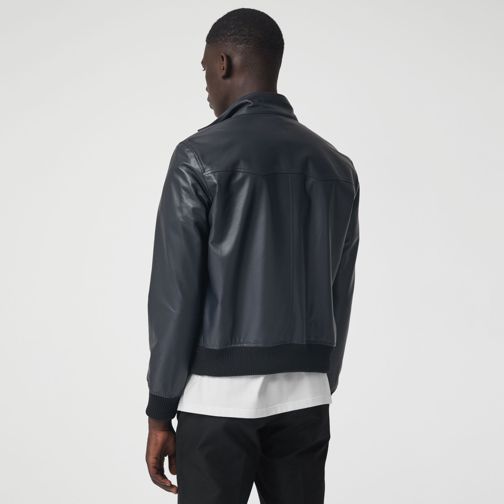 Lambskin Harrington Jacket in Navy - Men | Burberry - gallery image 2
