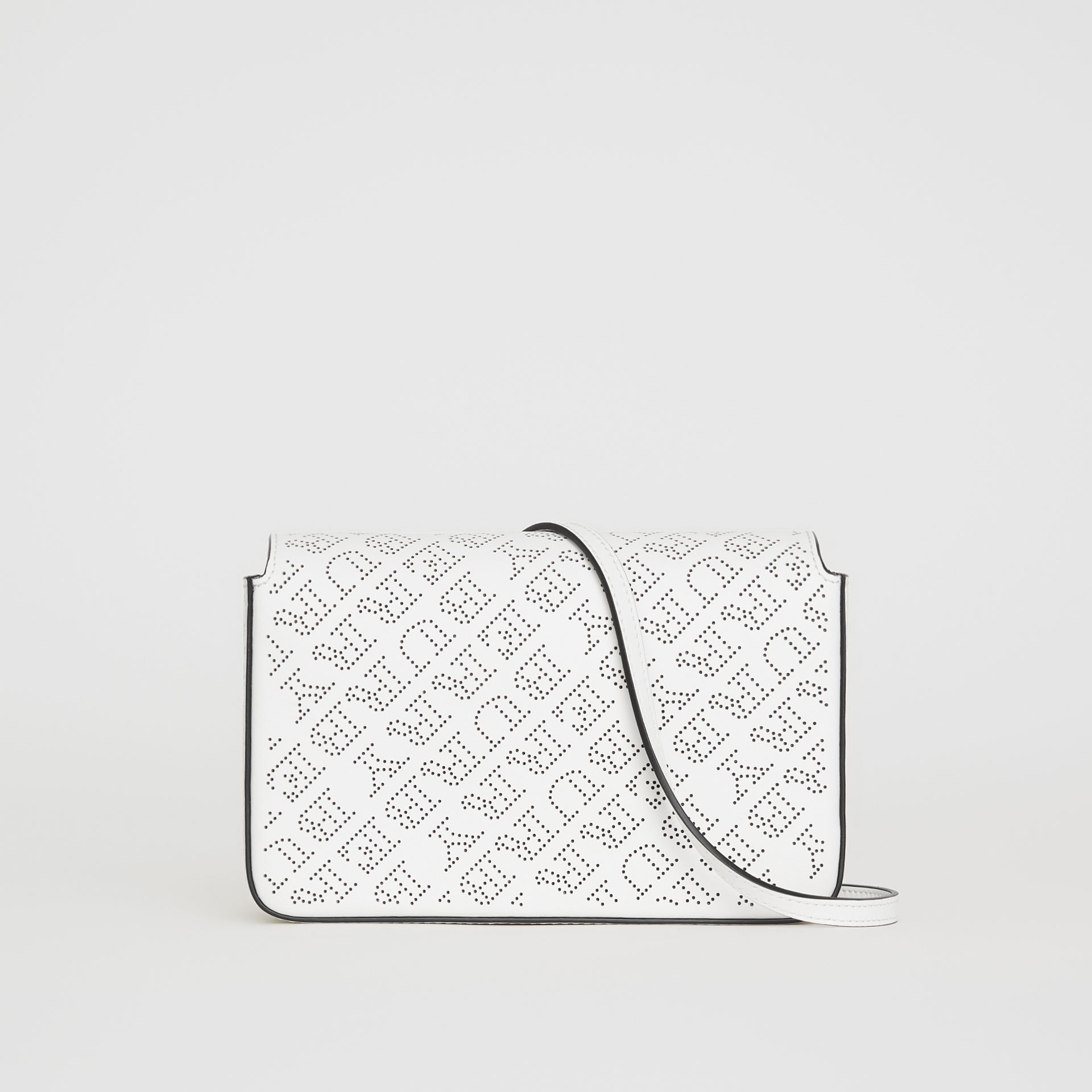 Perforated Logo Leather Wallet with Detachable Strap in White - Women | Burberry United Kingdom - gallery image 0