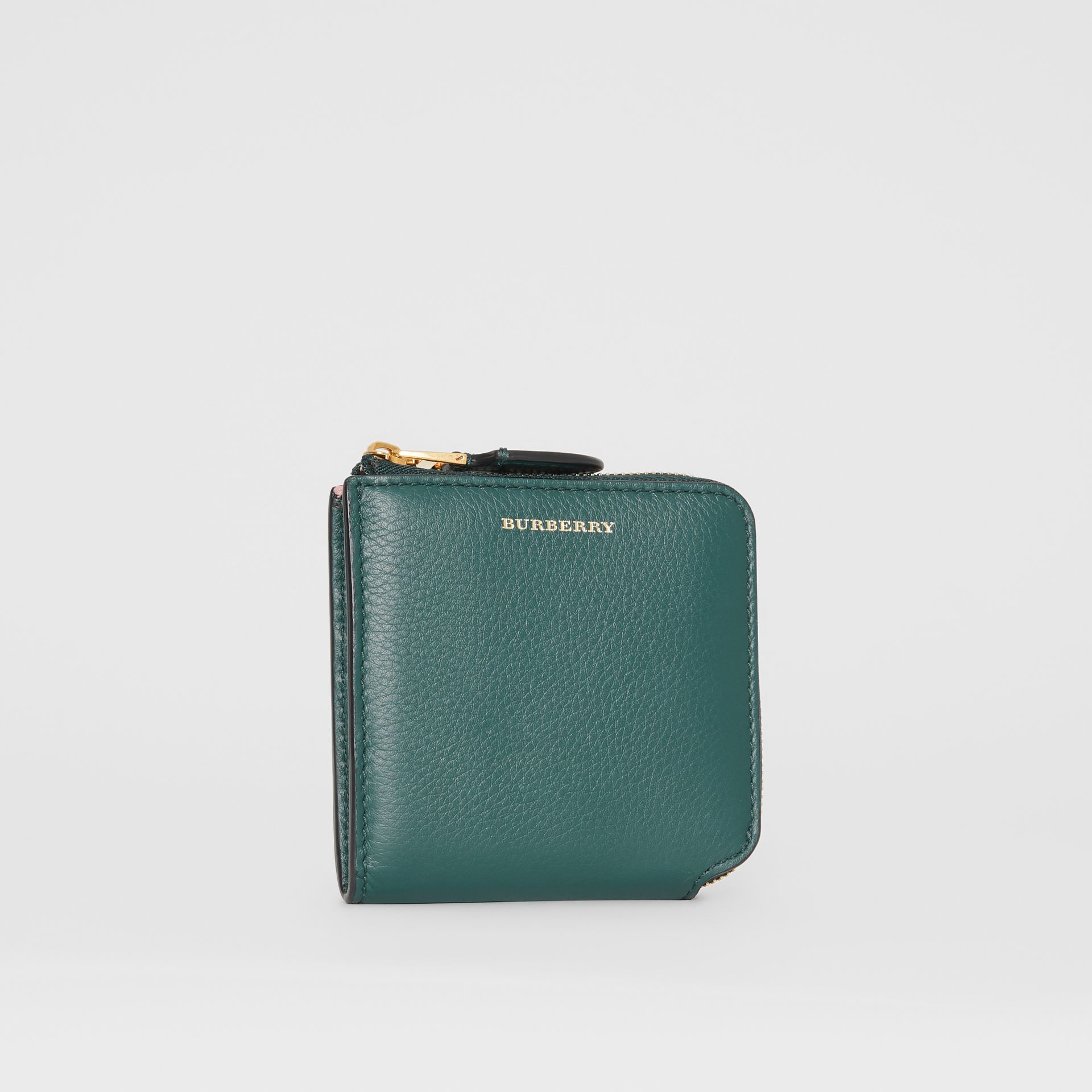 Grainy Leather Square Ziparound Wallet in Dark Cyan - Women | Burberry United Kingdom - gallery image 4