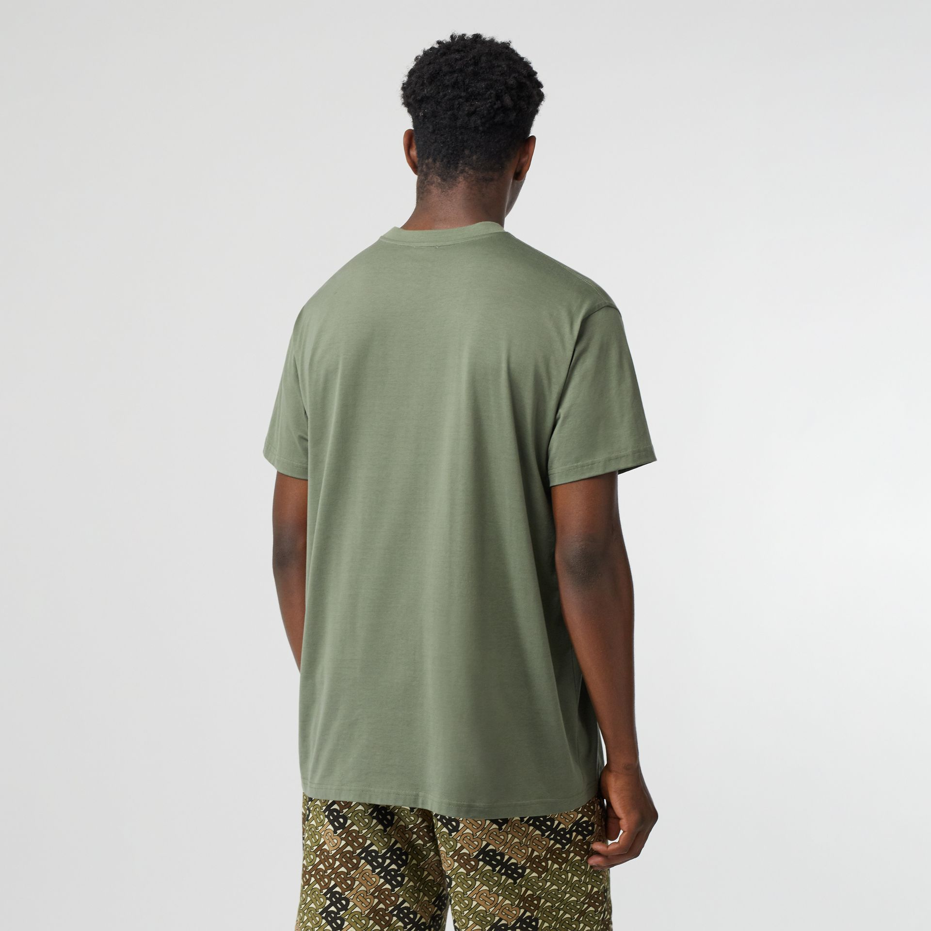 Logo Print Cotton Oversized T-shirt in Dark Moss - Men | Burberry - gallery image 2