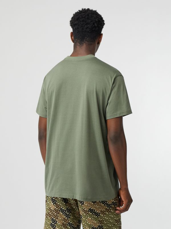 Logo Print Cotton Oversized T-shirt in Dark Moss - Men | Burberry Australia - cell image 2