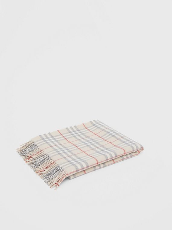 Vintage Check Wool Flannel Baby Blanket in Pale Stone
