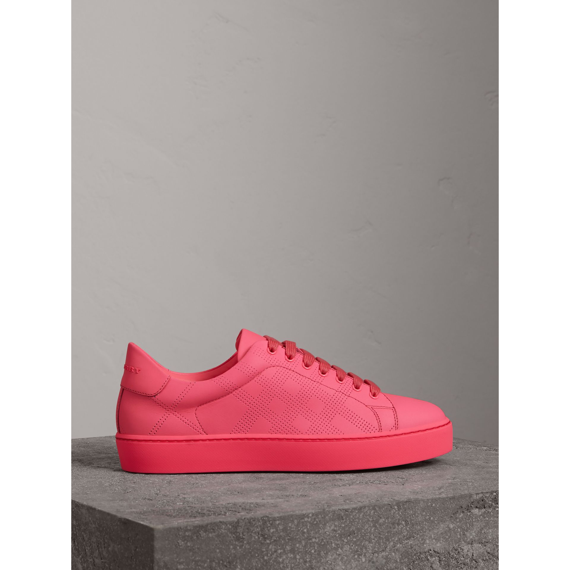 Perforated Check Leather Sneakers in Neon Pink - Women | Burberry - gallery image 3