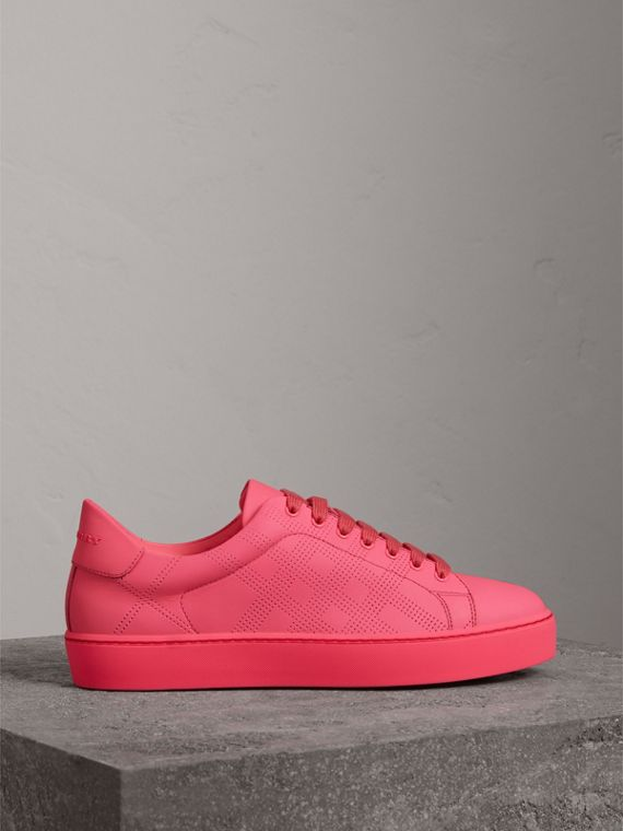 Perforated Check Leather Sneakers in Neon Pink - Women | Burberry - cell image 3
