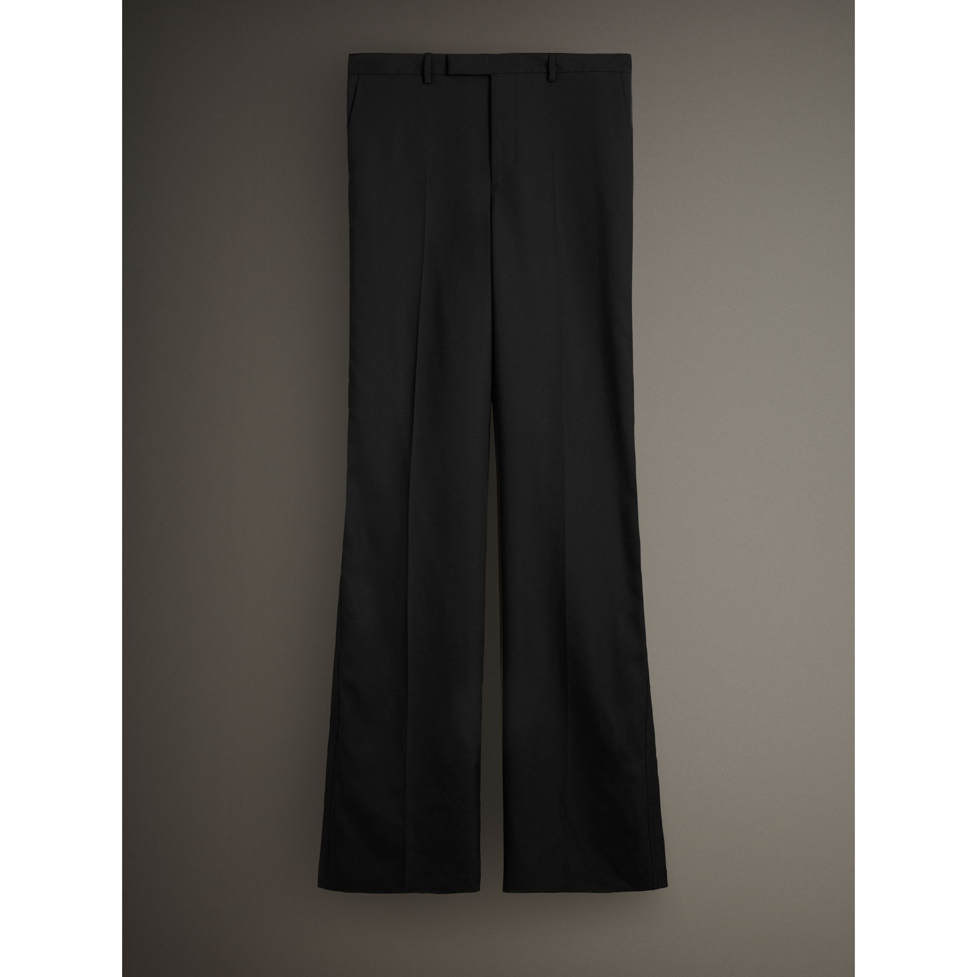 English Wool Mohair Barathea Tuxedo Trousers in Black - Men | Burberry - gallery image 3