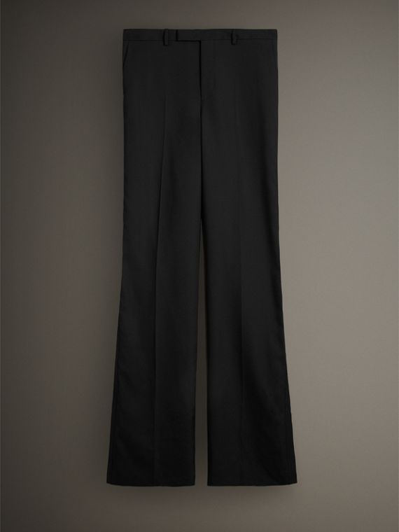 English Wool Mohair Barathea Tuxedo Trousers in Black