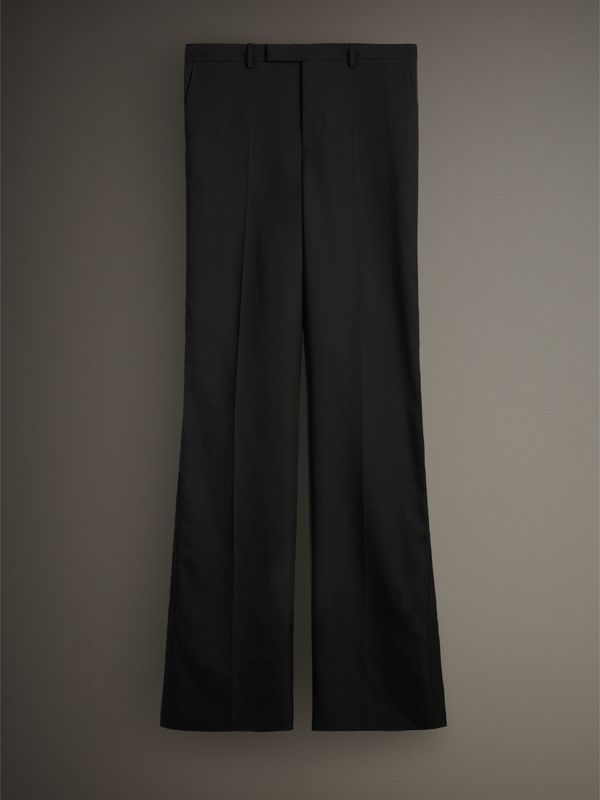 English Wool Mohair Barathea Tuxedo Trousers in Black - Men | Burberry - cell image 3