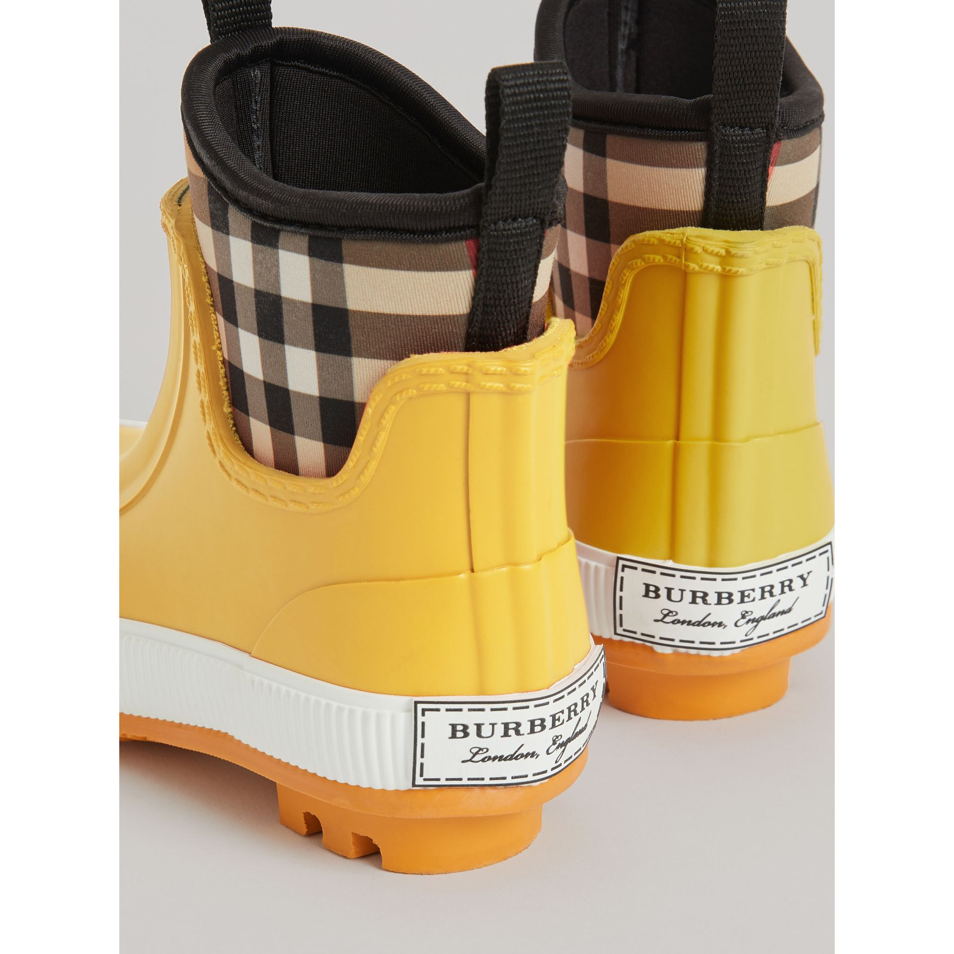 Vintage Check Neoprene and Rubber Rain Boots in Vibrant Lemon | Burberry - gallery image 2