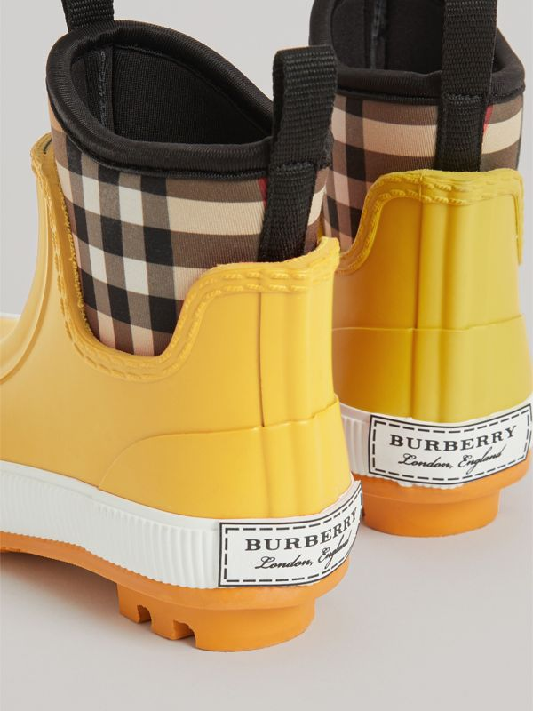 Vintage Check Neoprene and Rubber Rain Boots in Vibrant Lemon | Burberry United Kingdom - cell image 2