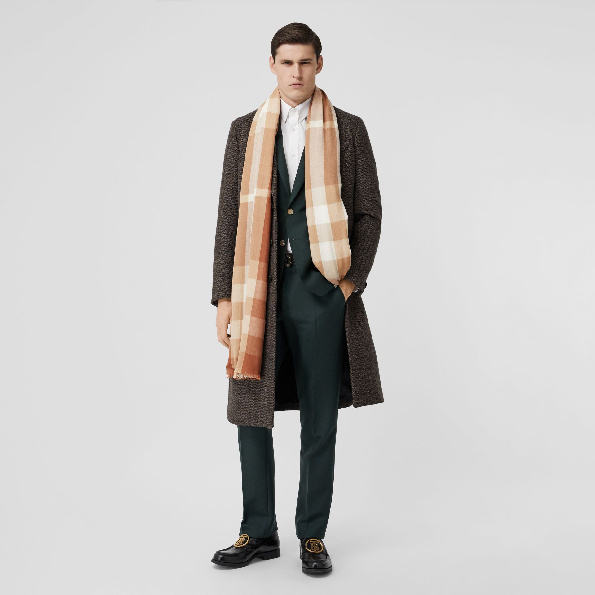 Lightweight Check Cashmere Scarf in Dark Camel | Burberry United Kingdom - gallery image 5