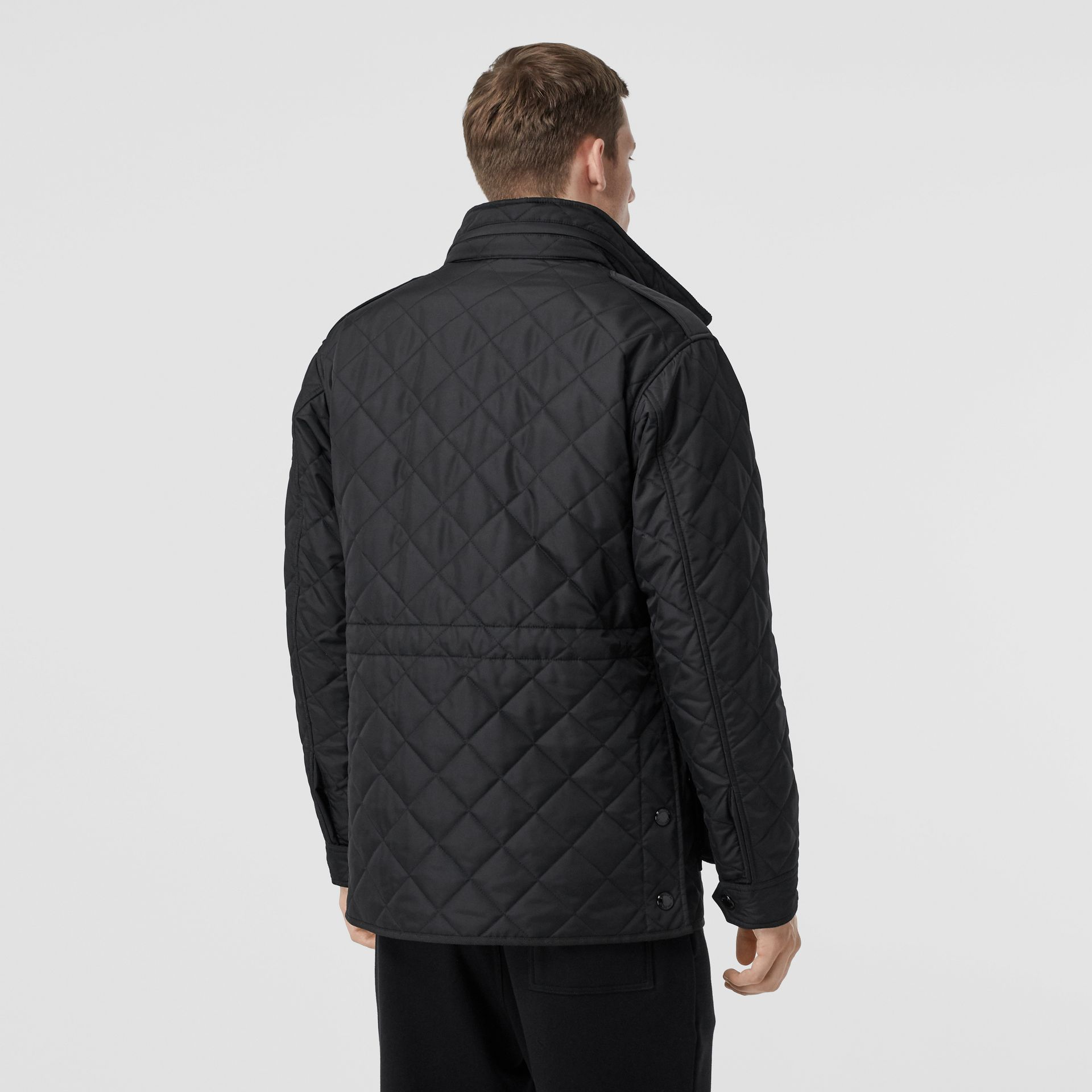 Packaway Hood Quilted Thermoregulated Field Jacket in Black - Men | Burberry Australia - gallery image 2