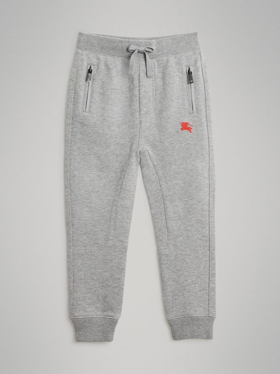 Drawcord Cotton Sweatpants in Grey Melange