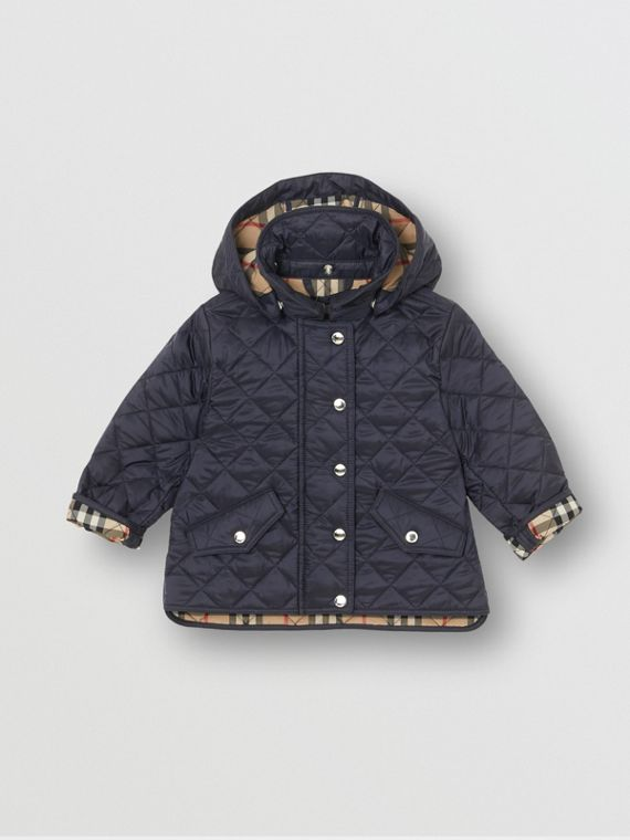 Detachable Hood Diamond Quilted Jacket in Navy