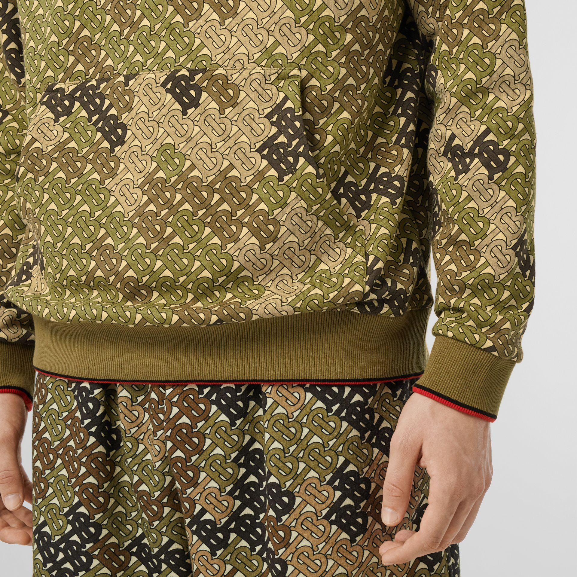 Monogram Print Cotton Hoodie in Khaki Green - Men | Burberry - gallery image 4