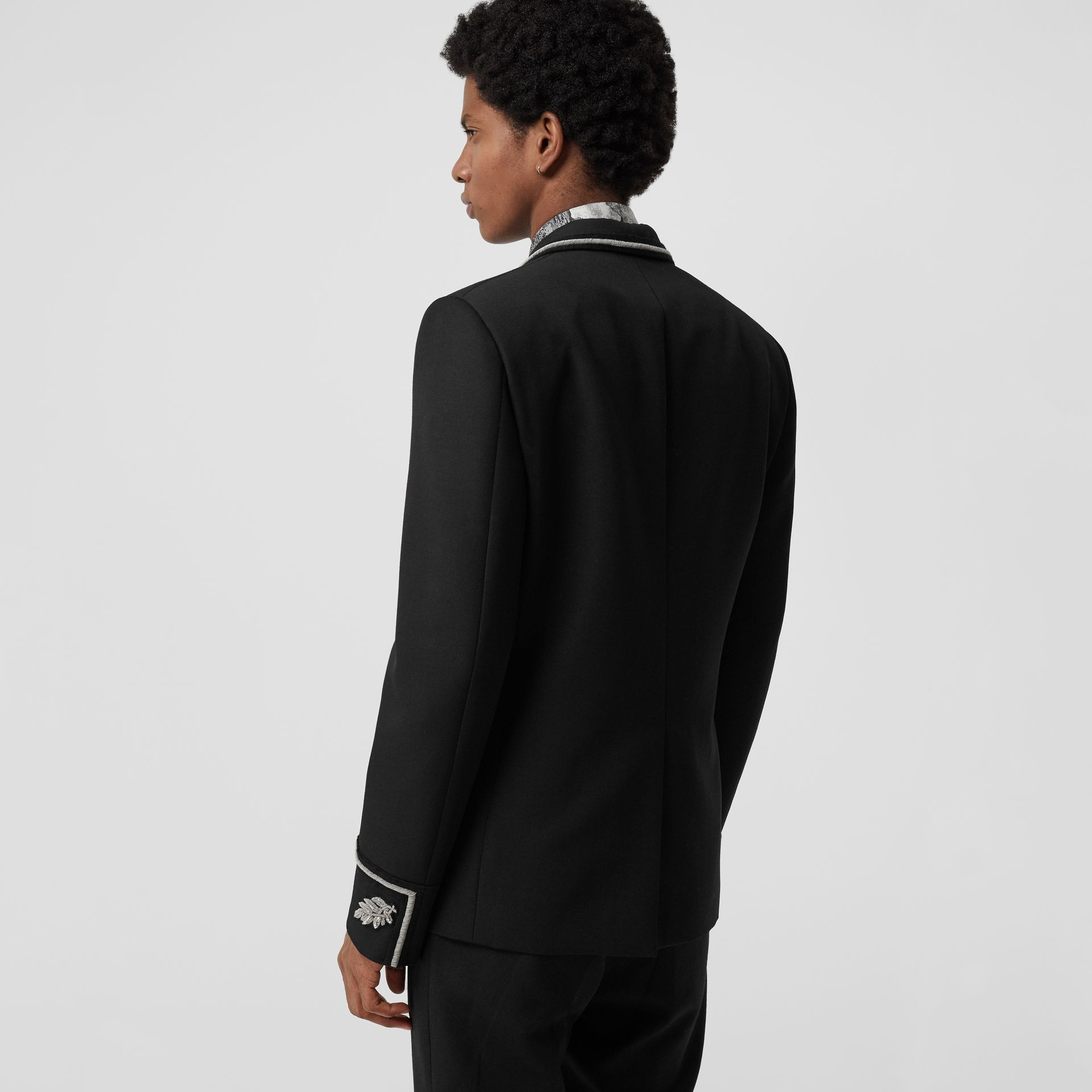 Slim Fit Bullion Wool Double-breasted Jacket in Black - Men | Burberry Singapore - gallery image 2